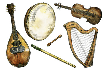 Watercolor and ink Irish folk music instruments