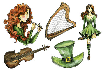 Watercolor and ink Irish symbols