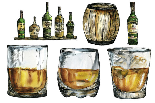 Watercolor and ink  whiskey glasses