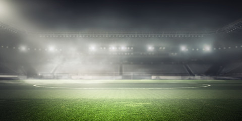 Foggy soccer field . Mixed media