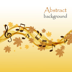 Abstract autumn background with music notes and a treble clef