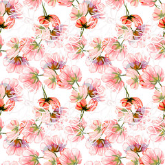Flowers, watercolor hand painting, seamless pattern
