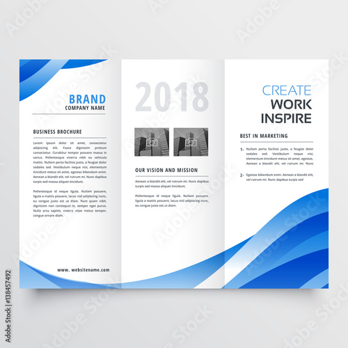 Creative Trifold Brochure Design Template With Trendy Wave Style - Free tri fold brochure design templates