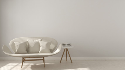 Scandinavian minimalistic background, with white sofa on herringbone natural parquet flooring, interior design