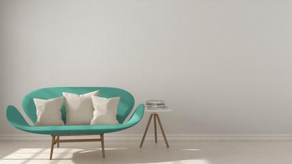 Scandinavian minimalistic background, with turquoise sofa on herringbone natural parquet flooring, interior design