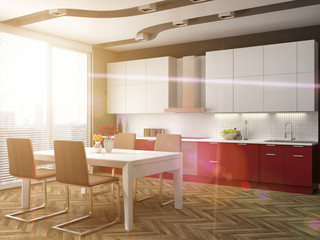 Kitchen interior. 3d illustration