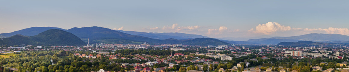 Panorama Ukrainian town of Mukachevo with Mountain View