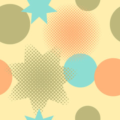 Seamless pattern of circles and stars including halftone effect, on a yellow background