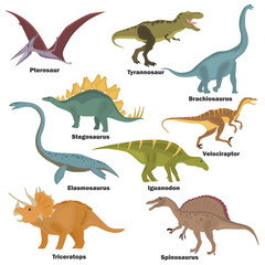 Set of color flat extinct dinosaurs color flat icons for web and mobile design