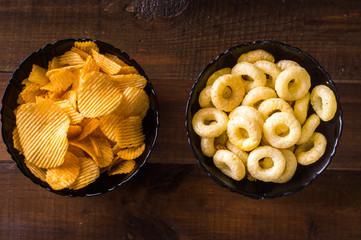 Snacks on a wooden background