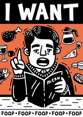 I want man with menu and food black and white poster