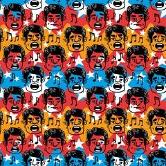 large pattern funny faces singing Man