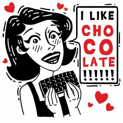 Pretty girl holding a chocolate tile I like chocolate comics