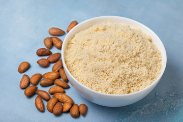 almond meal in a white bowl