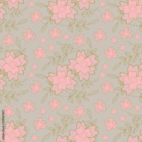 Pattern Fiori Rosa Su Sfondo Grigio Immagini E Fotografie Royalty