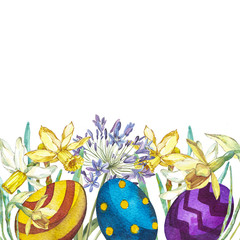 Hand drawn watercolor art eggs with Spring flowers. Isolated illustration on white background.