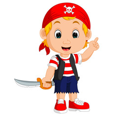 Cartoon pirate holding a sword