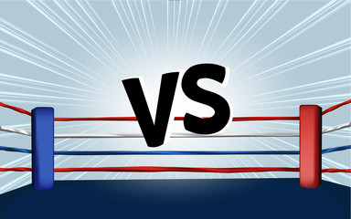 vector of boxing ring corner with comic style light blue background