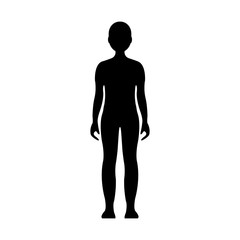 Boy. Human front side Silhouette. Isolated on White Background. Vector illustration.