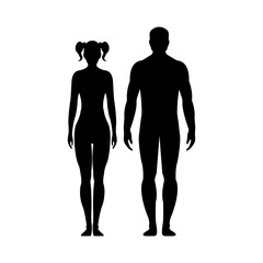 Man and woman.Human front side Silhouette. Isolated on White Background. Vector illustration.