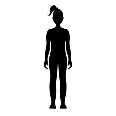 Girl. Human front side Silhouette. Isolated on White Background. Vector illustration.