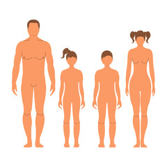 Man, woman, boy and girl. Human front side Silhouette. Isolated on White Background. Vector illustration.