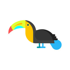 Vector flat style illustration of toucan.