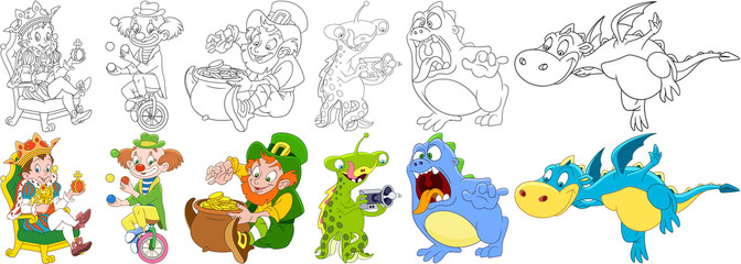 Cartoon characters set. Festival collection. King man (prince), circus clown juggling, leprechaun on saint patricks day, ufo alien, scary monster, flying dragon animal. Coloring book pages for kids.