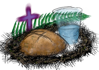 Lent fasting, bread and water with crown of thorns and palm branch. Abstract artistic illustration