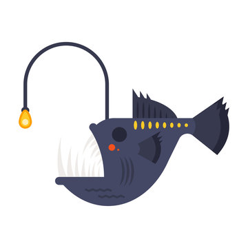 Vector flat style illustration of angler fish.