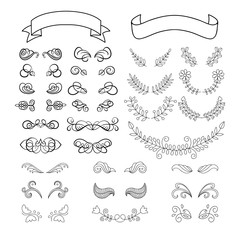 Big vector set of calligraphy page decoration elements with ribbons, laurels.