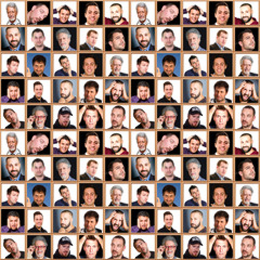face collage of men with different expressions