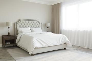 3d illustration of beige badroom