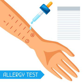 Allergy test. Vector illustration for medical websites advertising medications