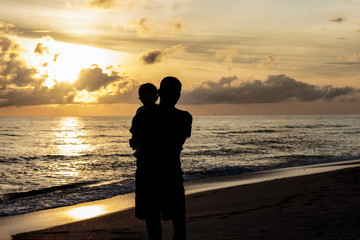 Silhouettes Father and son