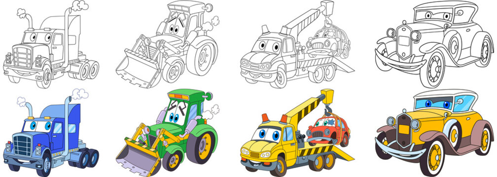 Cartoon transport set. Collection of vehicles. Heavy semi truck (trailer, lorry), tractor (bulldozer), tow truck (evacuator), luxury retro old car. Coloring book pages for kids.