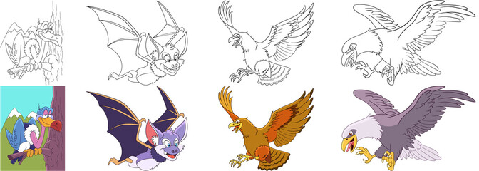 Cartoon animals set. Collection of predator birds. Vulture, halloween bat, hawk, eagle, condor, falcon. Coloring book pages for kids.