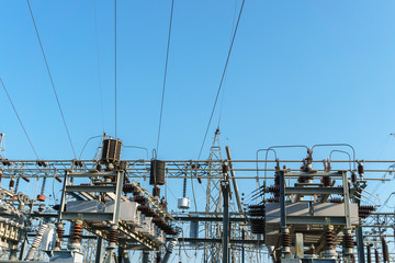 High Voltage Substation in the blue sky