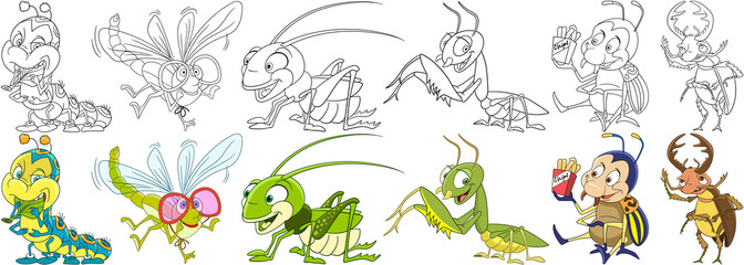 Cartoon animals set. Collection of garden insects and bugs. Caterpillar, dragonfly, grasshopper, mantis, colorado potato beetle, stag bug. Coloring book pages for kids.