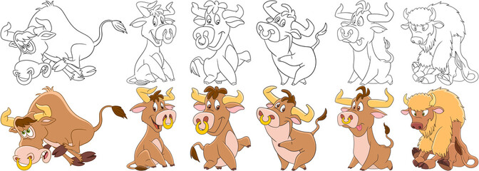Cartoon animals set. Collection of farm cattle. Bull, american buffalo, bison, ox, yak, calf. Coloring book pages for kids.