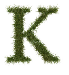 K Green grass alphabet