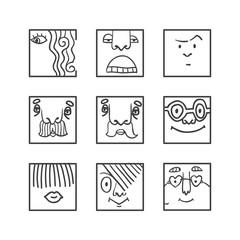 Avatar doodle icons set
