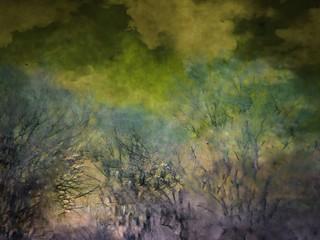 Green Bush Abstract Watercolor