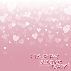 greeting card with a pink background with hearts and the words Happy Valentine's Day