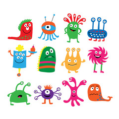 Collection of different colored cute funny monsters