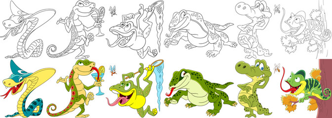 Cartoon animals set. Collection of reptiles and amphibians. King cobra snake, gecko (salamander), frog, lizard, komodo varan, crocodile (alligator), chameleon. Coloring book pages for kids.