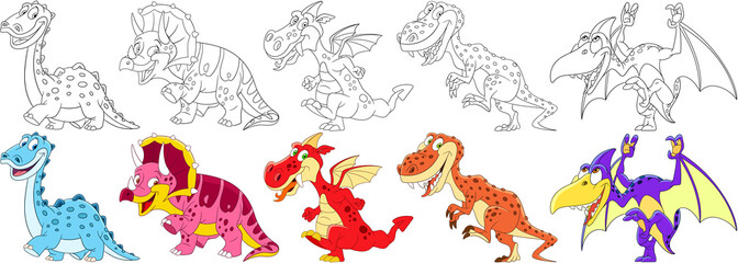 Cartoon animals set. Collection of dinosaurs in jurassic period. Diplodocus, triceratops, dragon, tyrannosaurus (t rex), pterodactyl. Coloring book pages for kids.