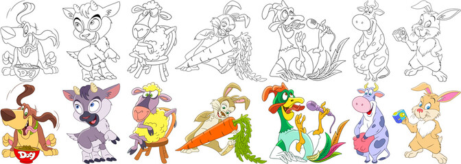 Cartoon animals set. Collection of domestic farm fauna. Basset hound dog, goat, sheep, bunny (rabbit), carrot, cock (rooster, bantam), cow, hare taking selfie photo. Coloring book pages for kids