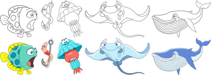 Cartoon animals set. Collection of fishes. Underwater fish, worm making air kiss, jellyfish (medusa), manta ray (stingray), blue whale (cachalot). Coloring book pages for kids.
