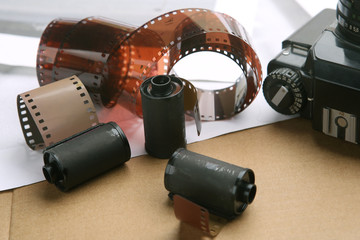 Photographic film rolls and cassettes . Analog film strips